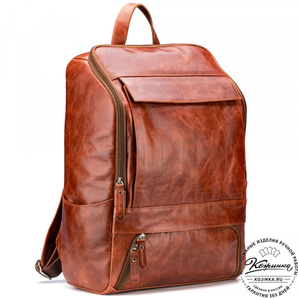 """Кожаный рюкзак """"Вена"""" (рыжий антик). фото 1"""
