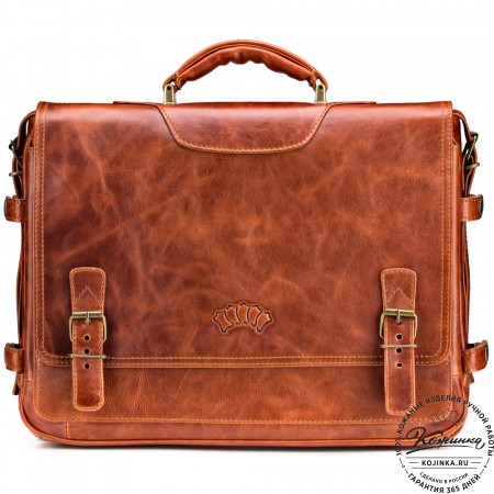 """Кожаный портфель """"Арамис"""" (рыжий антик)"""
