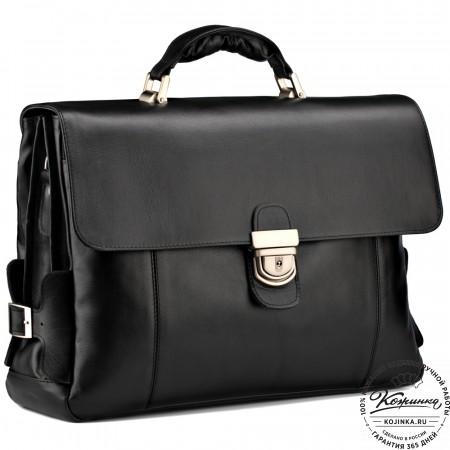 """Кожаный портфель """"Борменталь"""" (чёрный)"""