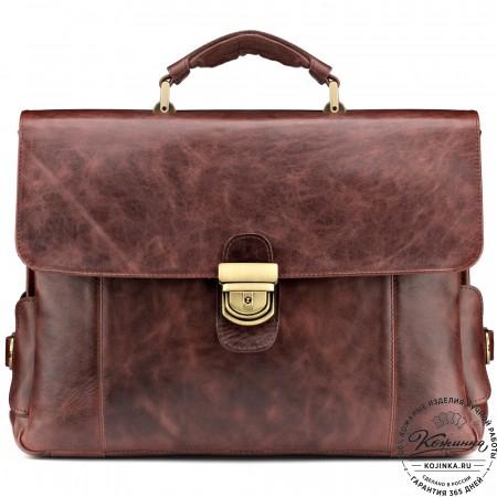 """Кожаный портфель """"Борменталь"""" (коричневый антик)"""