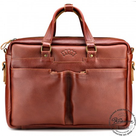 """Кожаная деловая сумка """"Хантер"""" (рыжая)"""