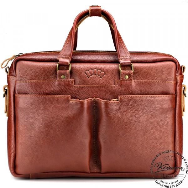 "Кожаная деловая сумка ""Хантер"" (рыжая). фото 1"