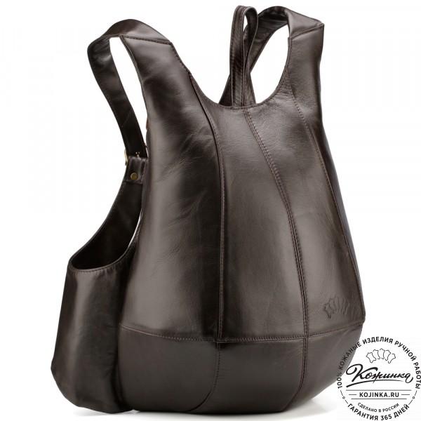 """Кожаный рюкзак """"Кевин"""" (тёмно-коричневый) . фото 1"""