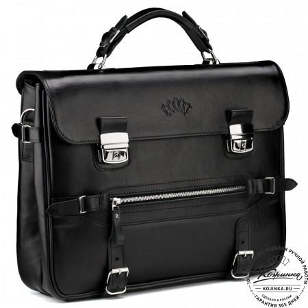 """Кожаный портфель """"Сталкер"""" (черный)"""