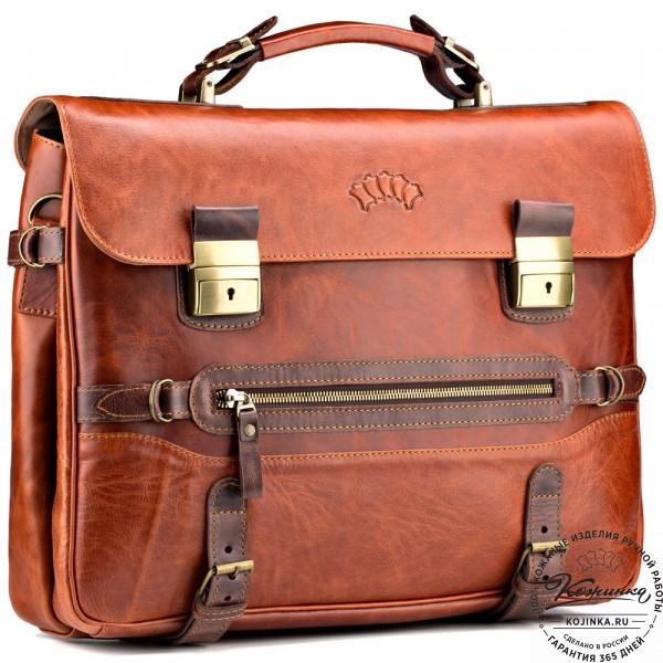 """Кожаный портфель """"Сталкер"""" (рыжий антик). фото 1"""