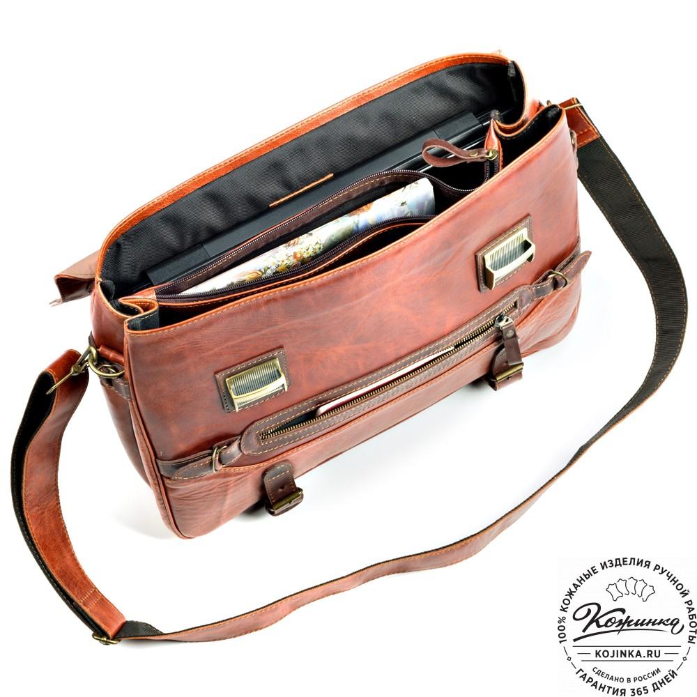 """Кожаный портфель """"Сталкер"""" (рыжий антик)"""