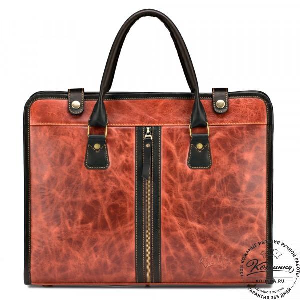 """Кожаная деловая сумка """"Юстин"""" (рыжий антик). фото 1"""