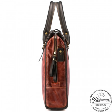 """Кожаная деловая сумка """"Юстин"""" (рыжий антик)"""