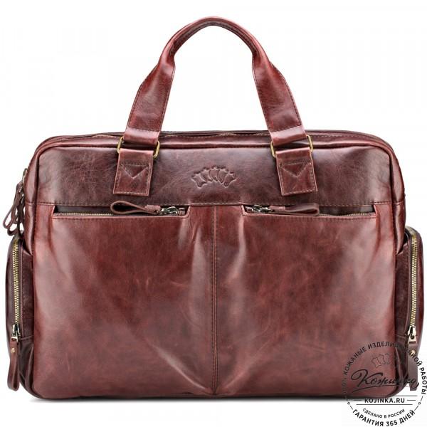 """Кожаная деловая сумка для командировок """"Бастилия"""" (коричневый антик). фото 1"""