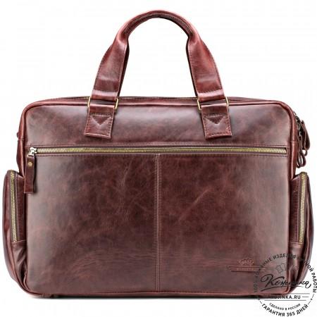 """Кожаная деловая сумка для командировок """"Бастилия"""" (коричневый антик)"""