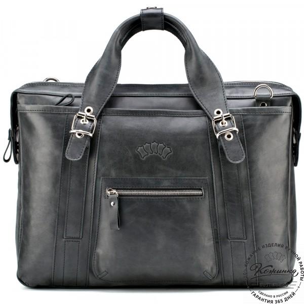 """Кожаная деловая сумка """"Доминик"""" (чёрный антик). фото 1"""