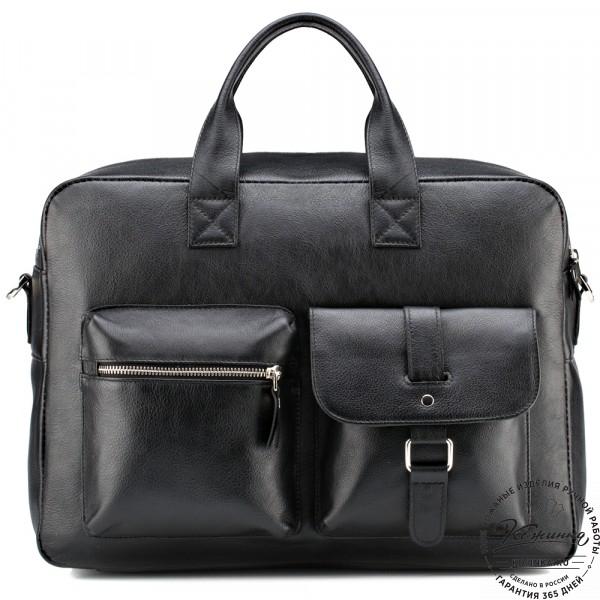 """Кожаная деловая сумка """"Райли"""" (чёрная) . фото 1"""