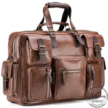 """Кожаная деловая сумка для командировок """"Ричард"""" (молочный шоколад)"""