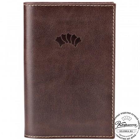 """Кожаная обложка на паспорт """"Стокгольм"""" (коричневая)"""