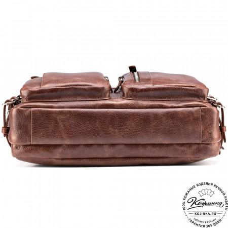 """Кожаная сумка-рюкзак """"Бигмэн"""" (светло-коричневая)"""