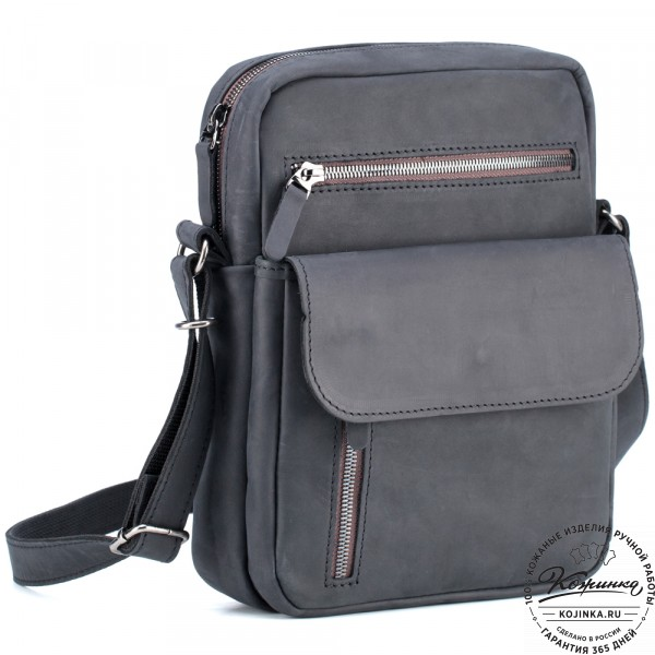 """Кожаная сумка """"Эквадор"""" (чёрный крейзи). фото 1"""