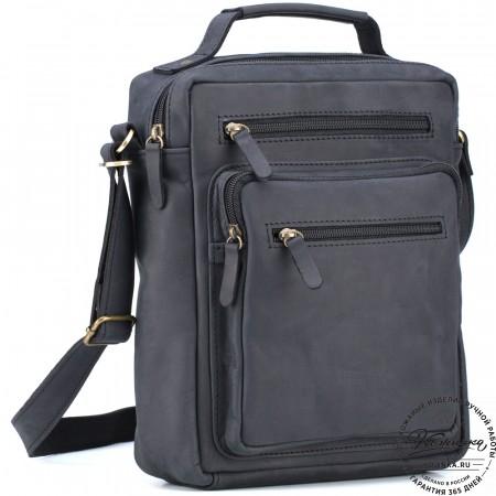 """Кожаная сумка """"Гектор"""" (чёрный крейзи)"""