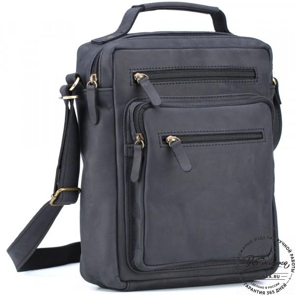 """Кожаная сумка """"Гектор"""" (чёрный крейзи). фото 1"""
