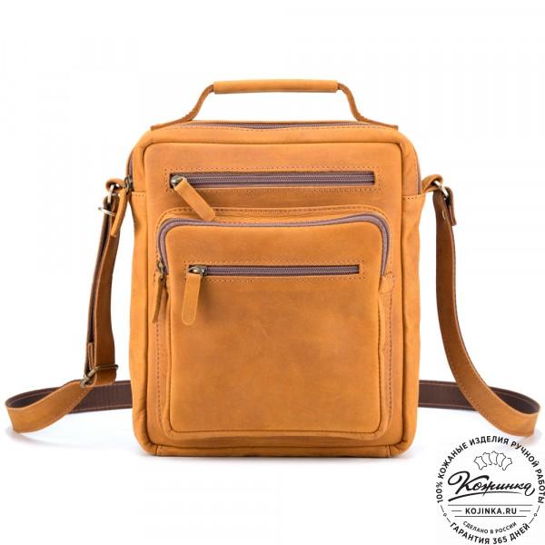 """Кожаная сумка """"Гектор"""" (рыжий крейзи). фото 1"""