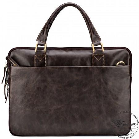 """Кожаная деловая сумка """"Ральф"""" (тёмно-коричневый антик)"""