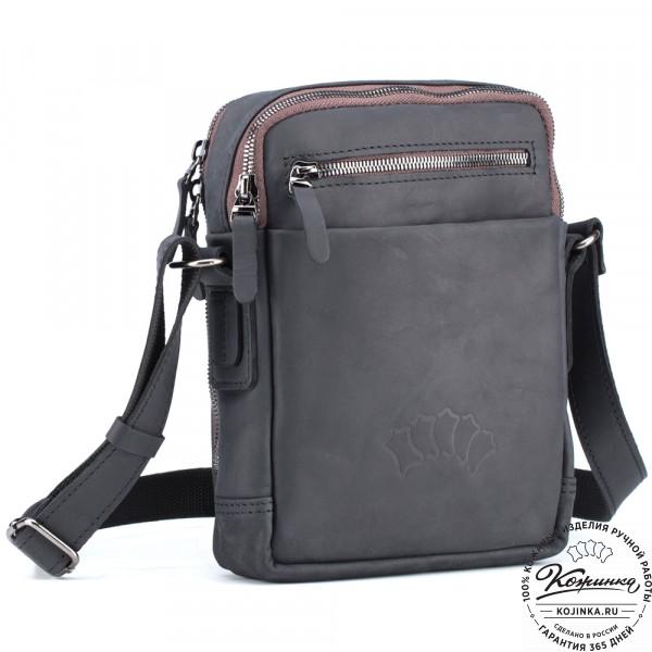 """Кожаная сумка """"Венесуэла"""" (чёрный крейзи). фото 1"""