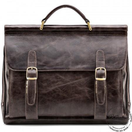 """Кожаный портфель """"Версаль"""" (тёмно-коричневый антик)"""