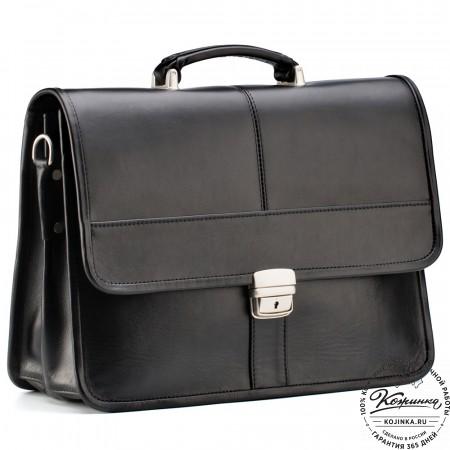 """Кожаный портфель """"Вильгельм"""" (чёрный)"""