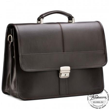"""Кожаный портфель """"Вильгельм"""" (коричневый)"""