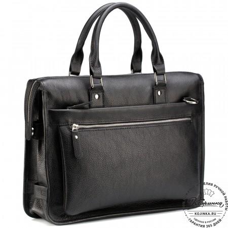 """Кожаная деловая сумка """"Вильямс"""" (чёрная)"""