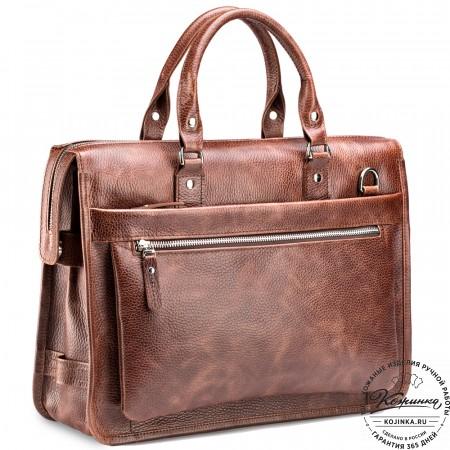 """Кожаная деловая сумка """"Вильямс"""" (светло-коричневая)"""