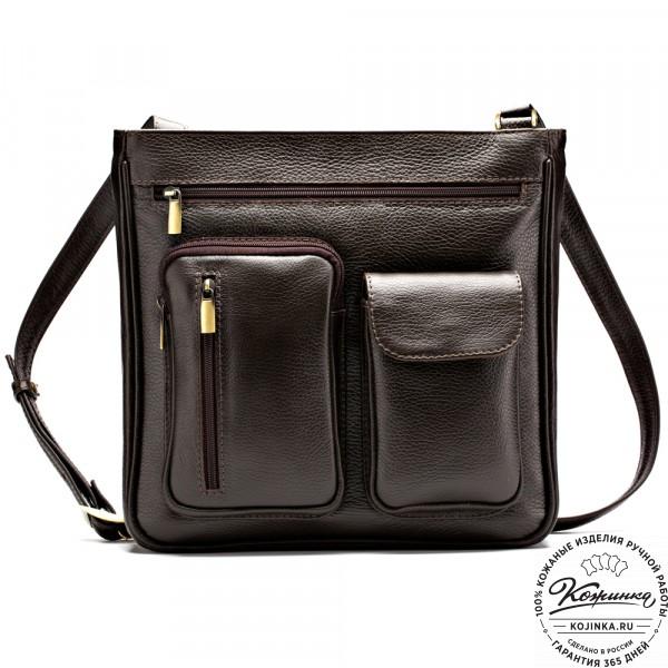 """Кожаная сумка """"Боб"""" (коричневая). фото 1"""