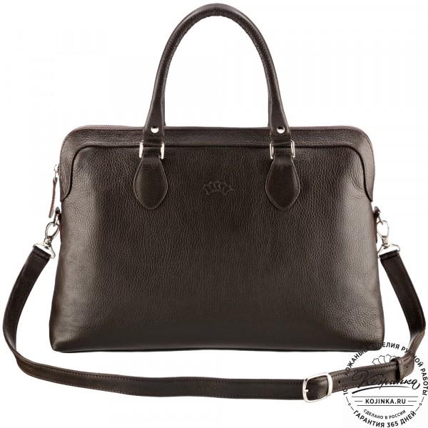 """Женская кожаная сумка """"Аврора"""" (тёмно-коричневая). фото 1"""