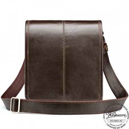 """Кожаная сумка """"Митчел мини"""" (тёмно-коричневая)"""