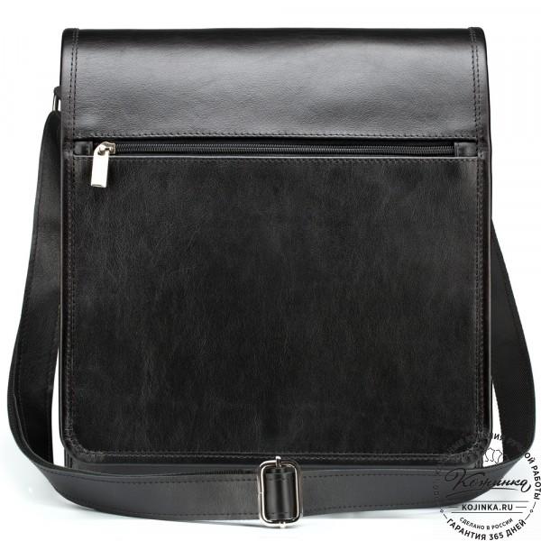 """Кожаная сумка """"Брэндон"""" (чёрная). фото 1"""