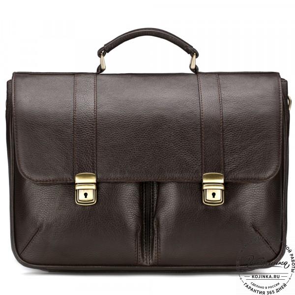 """Кожаный портфель """"Джозеф"""" (тёмно-коричневый). фото 1"""