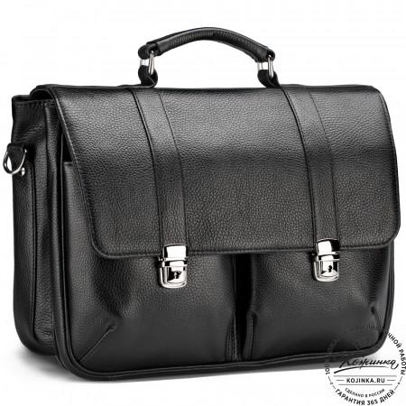 """Кожаный портфель """"Джозеф"""" (черный)"""