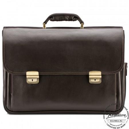 """Кожаный портфель """"Саймон"""" (тёмно-коричневый)"""