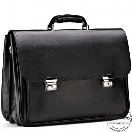 """Кожаный портфель """"Саймон"""" (черный)"""
