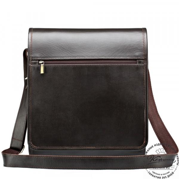 "Кожаная сумка ""Брэндон"" (тёмно-коричневая). фото 1"