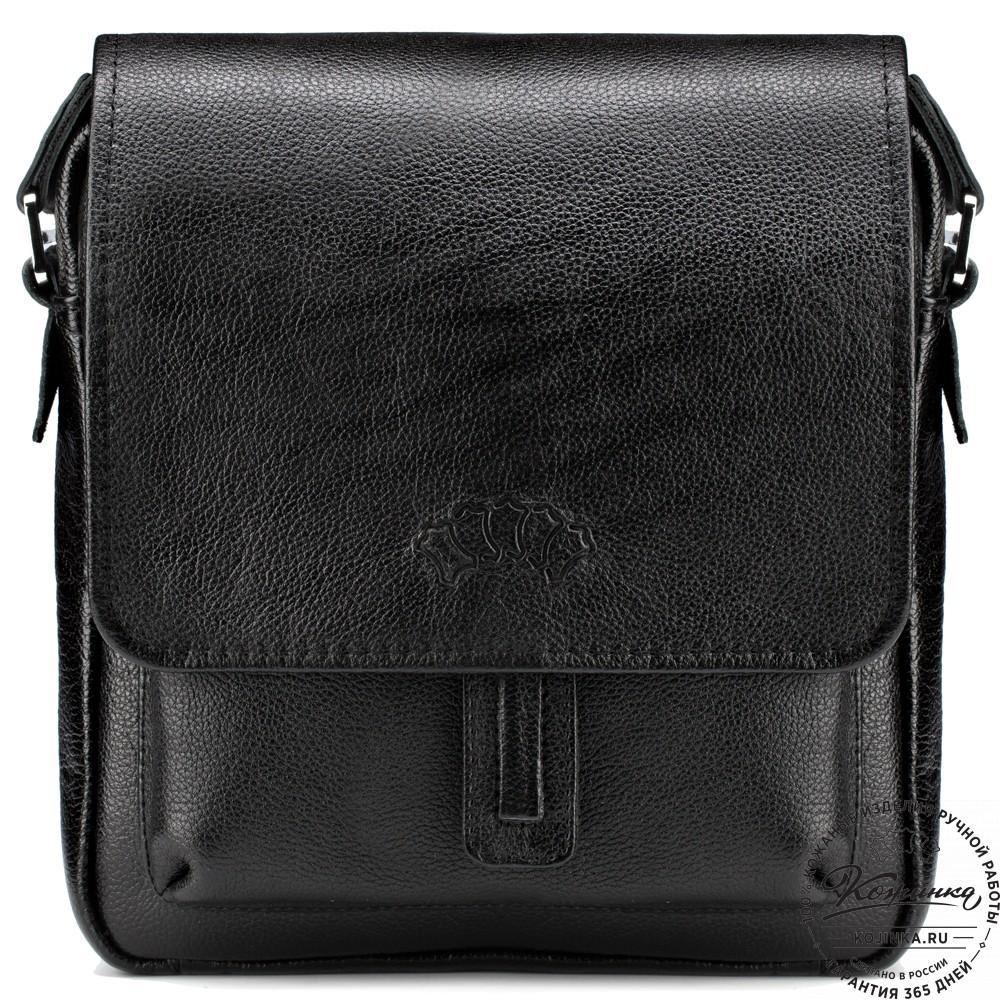 """Кожаная сумка через плечо """"Алекс"""" (чёрная)"""