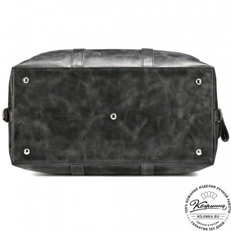 Кожаная дорожно-спортивная сумка Англия (чёрный антик)