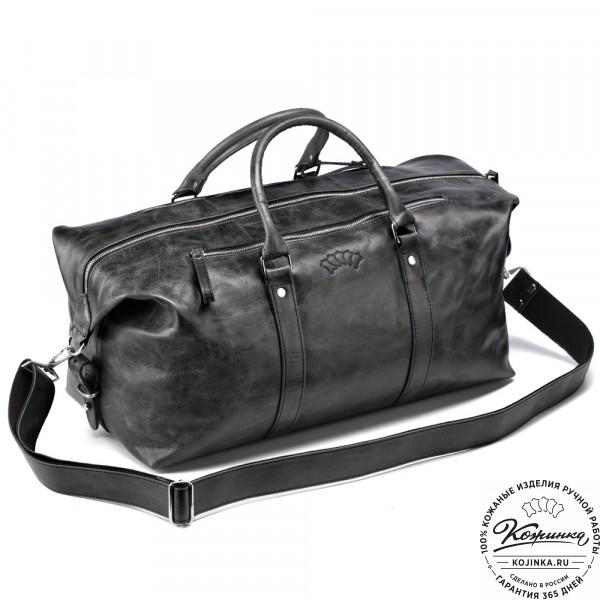 Кожаная дорожно-спортивная сумка Англия (чёрный антик). фото 1