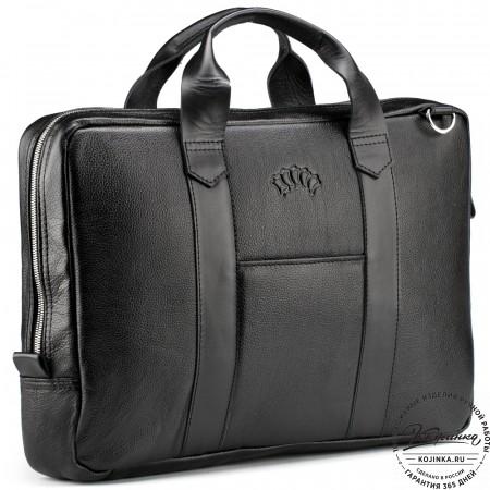 """Кожаная деловая сумка """"Дионис"""" (чёрная)"""