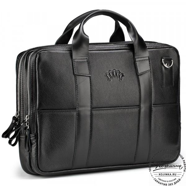 """Кожаная деловая сумка """"Гранд Карлос"""" (чёрная) . фото 1"""