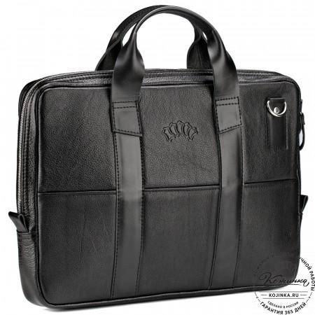 """Кожаная деловая сумка """"Карлос"""" (чёрная)"""