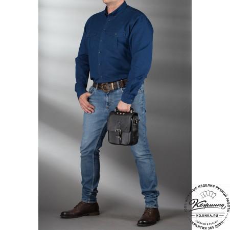 """Кожаная сумка через плечо """"Оливер"""" (чёрная)"""
