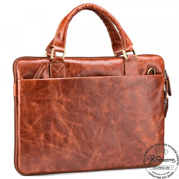 """Кожаная деловая сумка """"Ральф"""" (рыжий антик) . фото 1"""