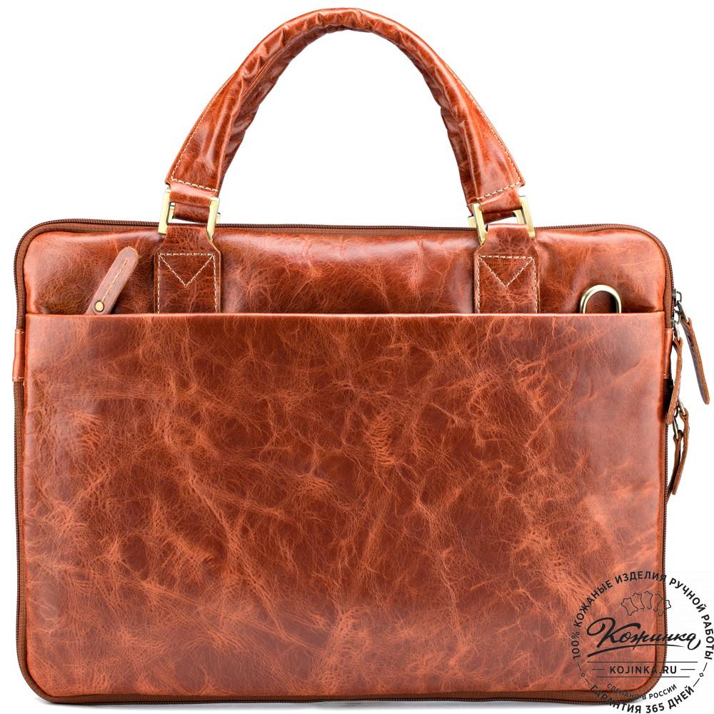 """Кожаная деловая сумка """"Ральф"""" (рыжий антик)"""