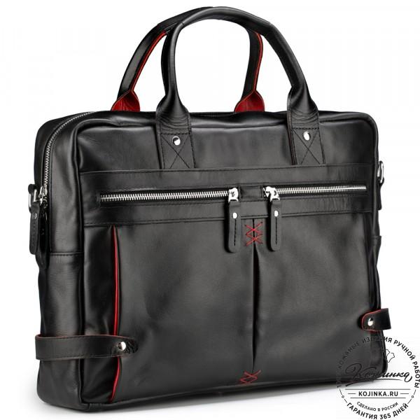 """Кожаная деловая сумка """"Роджер"""" (чёрная) . фото 1"""