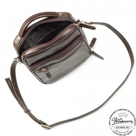 """Кожаная сумка """"Тедди"""" (коричневая)"""